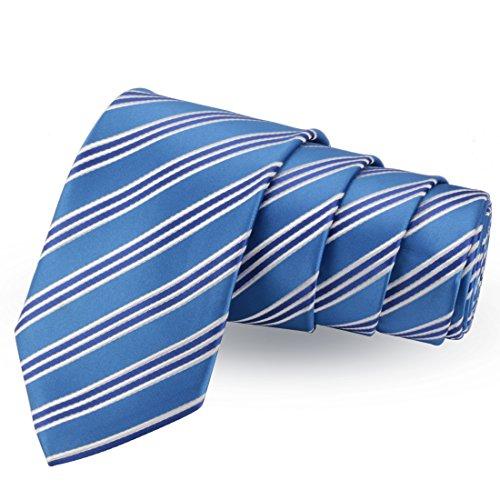 Peluche Pleasing Blue & White Colored Microfiber Necktie for Men