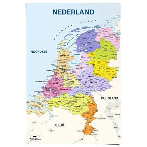 Maxi Poster Landkaart Kaart Nederland - Gedetailleerde kaart - Topografie - Steden en provincies - 61 x 91 cm Kantoor