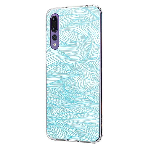 Zater Hülle Case Kompatibel für Huawei P20 Handyhülle,Huawei P20 Schutzhülle Ultradünn Transparent Silikon Soft TPU Marmor Crystal Clear Bumpe Schutzhülle für Huawei P20