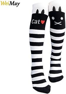 WeiMay Calcetines hasta la rodilla para niños y niñas, antideslizantes, diseño de gatos, color blanco y negro