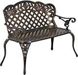 44' Garden Bench,Park Bench Outdoor Metal Bench Outdoor Benches Patio Bench with Cast Iron Cast Aluminium Frame Antique Finish Park Chair for Yard Floral Rose Loveseat