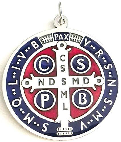 GTB - Medalla de San Benito de plata esmaltada para exorcismo - Tamaño: 10 cm - Modelo: 60.400.31