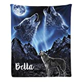 CUXWEOT Custom Blanket with Name Personalized Howling Wolf Moon Soft Fleece Throw Blanket for Gifts (50 X 60 inches)
