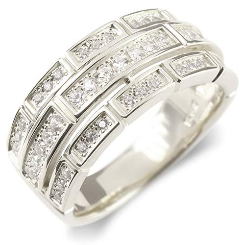 [アトラス]Atrus リング レディース pt900 プラチナ900 キュービックジルコニア 指輪 ピンキーリング 幅広 レンガ調 28号
