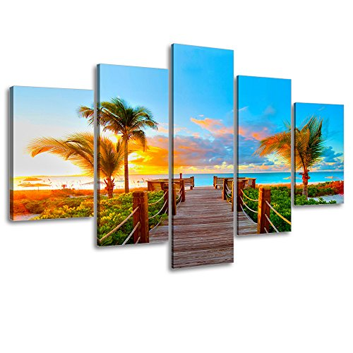 """Tropical Beach Painting Decor, SZ 5 Piece Palm Tree Sunset Picture Canvas Wall Art, Ocean Canvas Prints for Living Room, Ready to Hang, 1"""" Deep, Waterproof, Big/Large Size"""