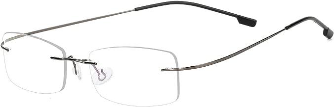 Agstum Mens Womens Titanium Alloy Flexible Rimless Frame Prescription Eyeglasses 51mm