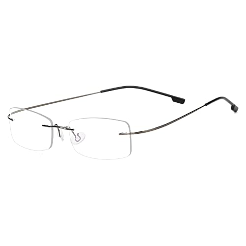 cbba6015a853 Agstum Mens Womens Titanium Alloy Flexible Rimless Frame Prescription  Eyeglasses 51mm