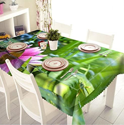 Yqgdss Hermosa Planta De Loto Mantel 3D Diseño De Cocina Mesa De Comedor Mesa De Comedor Decoración De Cocina Comedor Familiar Actividades Interiores Al Aire Libre 120x160cm