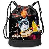 宇宙のおかしい猫 ユニセックス多目的スポーツバンドルドローストリングバックパック耐久大空間ジム屋外バッグ