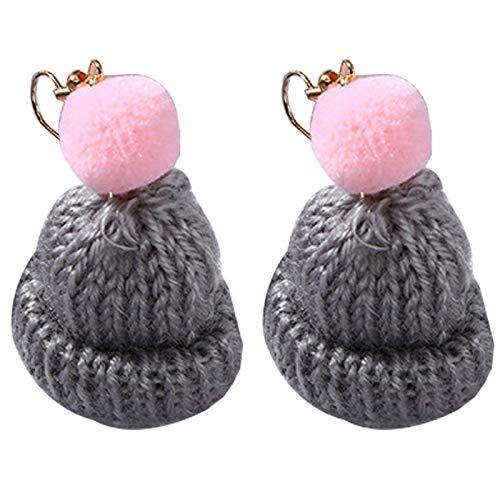 ZOYLINK Drop Earrings Pom Pom Knitted Hat Design Hook Dangle Earrings Fashion Sweet Color Clip on Earrings for Christmas Date Girls Women