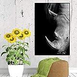 NIMCG Elefante Blanco y Negro Maestro de Arte Pintura Cartel tipográfico decoración del hogar salón Imagen Moderna impresión en Lienzo (sin Marco) A4 30x45 CM