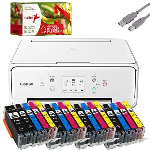 Bundle Canon PIXMA TS6250_51 inkjetprinter, multifunctioneel apparaat, zwart met comp. Realink® inktpatronen voor PGI-580/CLI-581 XXL (printen, scannen, kopiëren) Set 4: mit 20 Druckerpatronen wit