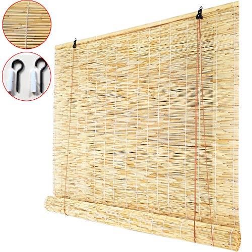Zhaomi Natürlicher Bambusvorhang Strohvorhang,Hochwertige Heben Bambusrollo,Trennwandtürvorhang,Dekorativer Retro Sonnenschutzrollos,für Außen/Innen,Anpassbar (50x100cm/20x39in)