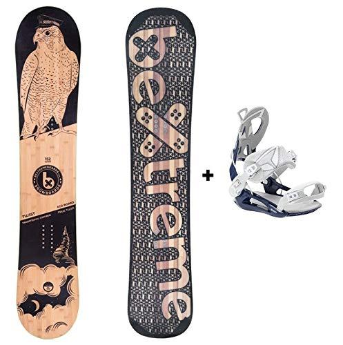 Bextreme Tabla Snowboard Freestyle y Freeride Twist 2020 con Fijaciones SP Private. Snow para Hombre y Mujer Fabricado con Bambu, Haya y álamo (Fijaciones SP 45-47 EU, 160cm)
