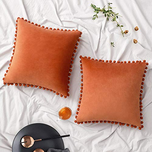 Woaboy Pack of 2 Velvet Throw Pillow Covers Pompom Decorative Pillowcases Solid Soft Cushion Covers with Poms Square for Couch Living Room Sofa Bedroom Car 18x18inch 45x45cm Orange