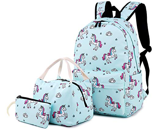 Bookbag for Girls,BTOOP School Backpack Cute Schoolbag with Insulated Lunch bag for Teens Kids Boys Travel Daypack (Light blue T01)
