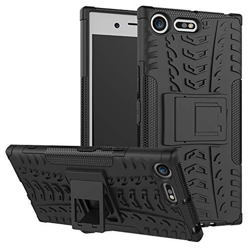LiuShan Sony XZ Premium Hülle, Dual Layer Hybrid Handyhülle Drop Resistance Handys Schutz Hülle mit Ständer für Sony Xperia XZ Premium Smartphone (mit 4in1 Geschenk verpackt),Schwarz