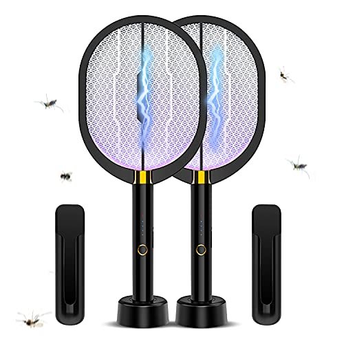 3 in 1 Electric Fly Swatters (2- Packs) , 3000Volt Indoor & Outdoor Bug Zapper Rackets, Rechargeable Mosquito Killer Racket for Home, Bedroom, Kitchen, Office, Backyard, Patio