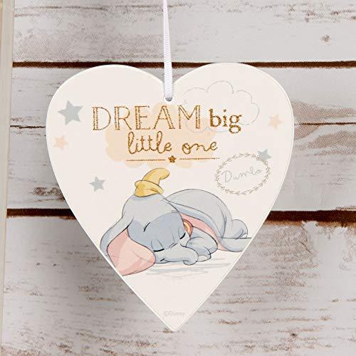 "Disney ""Dream Big"" Dumbo-Herz-Plakette, Magical Beginnings Baby-, Kinderzimmerausstattung DI399"