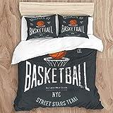 SUPERQIAO Juego de Funda nórdica, Streetball Urban Sport Team Badge Sign Logo Banner Bola Naranja sobre la Red de la Canasta, Juego de Cama Decorativo de 3 Piezas con 2 Fundas de Almohada