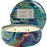 LA JOLIE MUSE Citronella Candle Scented Soy Wax 3 Wick Tin, Outdoor and Indoor, 25-30 Hour Burn