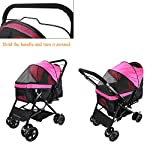 Display4top Pink Pet Travel Stroller, Foldable Four-Wheeled Trolley Suspension Commutation Cat and Dog Cart Large Travel Supplies Travel Goods Gear 12
