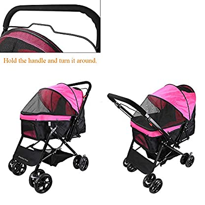 Display4top Pink Pet Travel Stroller, Foldable Four-Wheeled Trolley Suspension Commutation Cat and Dog Cart Large Travel Supplies Travel Goods Gear 5