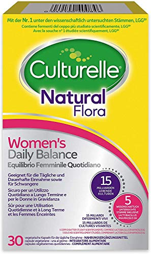 Culturelle Natural Flora Supplement for Women|Women's Daily Balance|30 Vegan Capsules|4 Bacterial strains|10 Billion Live Cultures Lactobacillus rhamnosus GG Made in Denmark|Stomach Acid Resistant
