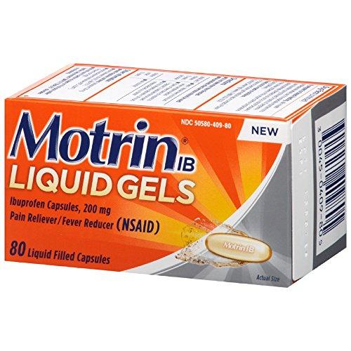 Motrin Liquid-Gels 200mg Ibuprofen, 80 Count Per Bottle
