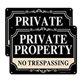 2 Pack No Trespassing Signs Private Property,10x7 Inch Rust Free Aluminum Metal Sign,Reflective,Fade Resistant,UV Protected,Weatherproof Up to 7 Years Indoor/Outdoor Use