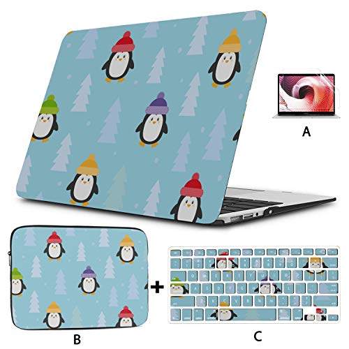 Laptop Protector Penguin White Black Handsome Animal Mac Book Pro Case Hard Shell Mac Air 11'/13' Pro 13'/15'/16' with Notebook Sleeve Bag for MacBook 2008-2020 Version