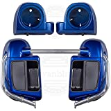 Moto Onfire Blue Max, Lower Vented Fairings, 6.5 inch Speaker Pods Fit for Harley Touring, Street Glide, Road Glide, 2019