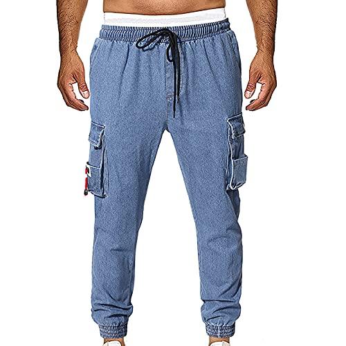 Komiseup Herren Jeans Hose Cargohose Baggy Denim Jeans Hosen mit Taschen Blaue Lange Jeanshose Jungen Pants Coole Jungen Freizeithose Cargo Jogginghose Traininghose Fitnesshose