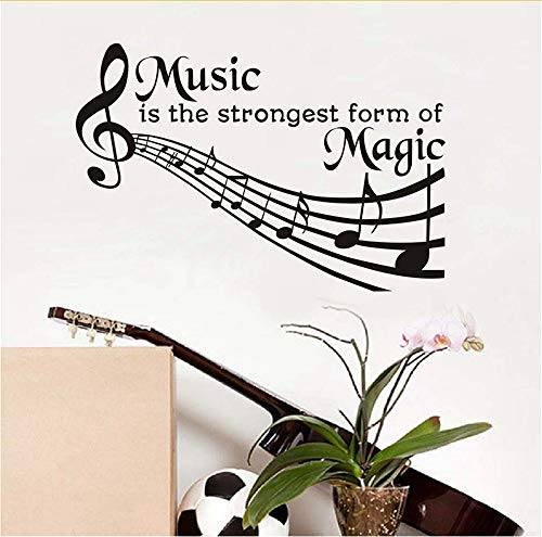 Lbonb Musik Ist Die Stärkste Form Der Magie Wall Decals Zitate Abnehmbare Diy Home Decor PvcWandaufklebernoten Schlafzimmer Art57 * 58Cm