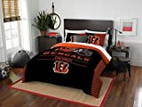 Cincinnati Bengals - 3 Piece FULL/QUEEN Size Printed Comforter Set - Entire Set Includes: 1 Full/Queen Comforter (86' x 86') & 2 Pillow Shams - NFL Football Bedding Bedroom Accessories