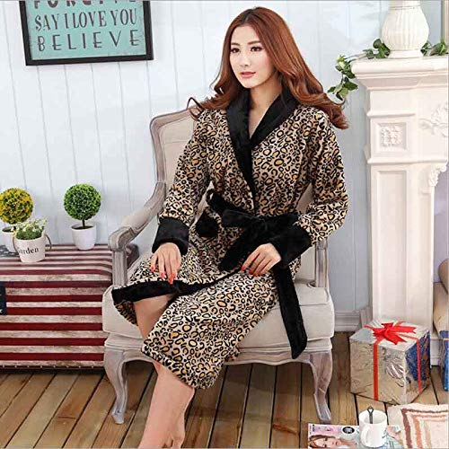 QHYQHY Flanellbademäntel Mit Leopardenmuster Robe Night Gown Thicken Coral Fleece Pyjamas Nachtwäsche Lounge Kimono