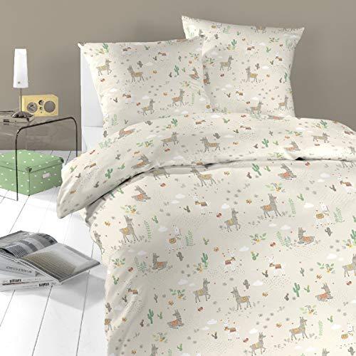 schlafgut Daily Cotton Bettwäsche Lama Safari 1 Bettbezug 135x200 cm + 1 Kissenbezug 80x80 cm