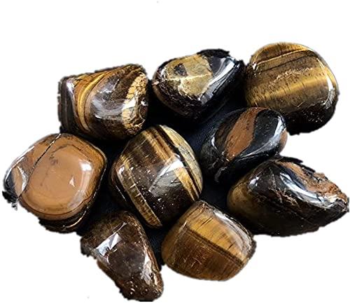 U/D Piedras de cuarzo naturales con cristales de piedras preciosas para jardín, reiki y decoración del hogar, chips aplastados KEMING (ojo de tigre, 100 g)