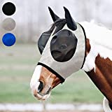 fertgo Fly Mask for Horses with Ears,Breathable Fine Mesh and Non Heat Transferring (Grey-H)