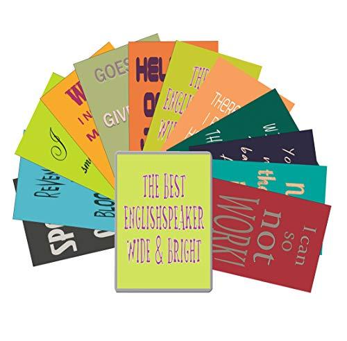 Postkarten Denglisch Set - Starterkit Nr 6 - Geschenkdose for Engleutsch-Oncatcher - 12 x Best of Denglish Sprüche zum Verschenken - Geschenk für Lehrer - Englisch lustig