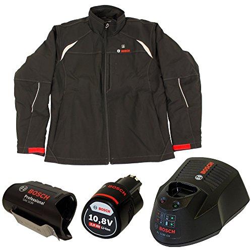Bosch Professional HEAT+ - Chaqueta de trabajo térmica calefactable para hombre (almohadillas térmicas con batería de 12 V, adaptador de batería + 1 batería 2.0 Ah, cargador AL 1230 CV, talla L)