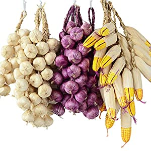 Swovo Artificial Onion String Fake Vegetable Strings Artificial Corn Strings Hanging for Home Kitchen Decor Kids Toy