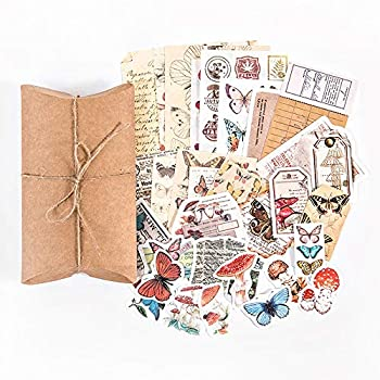 Vintage Scrapbook Stickers Pack Decorative Plants Floral Butterfly Mushroom Retro Paper Decals Nature Collection for Junk Journal DIY Arts Crafts Album Bullet Journals Planners