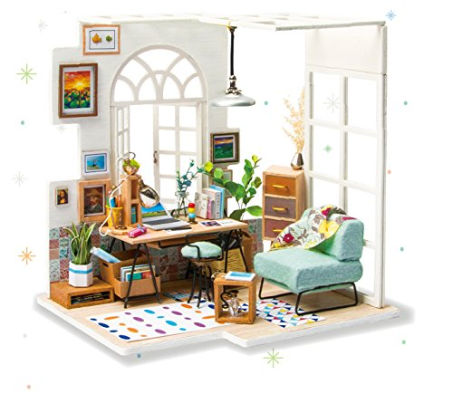 Rolife Wooden Miniature Dollhouse Model Kits With LED and Furnitures Handcraft House Building Kits Christmas Birthdays Gifts For Adult and Teen (SOHO Time)