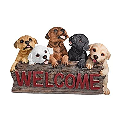 Design Toscano The Puppy Parade Welcome Sign, Multicolored