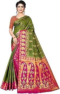 Neerav Exports Banarasi Traditional Jacquard Saree (Green)