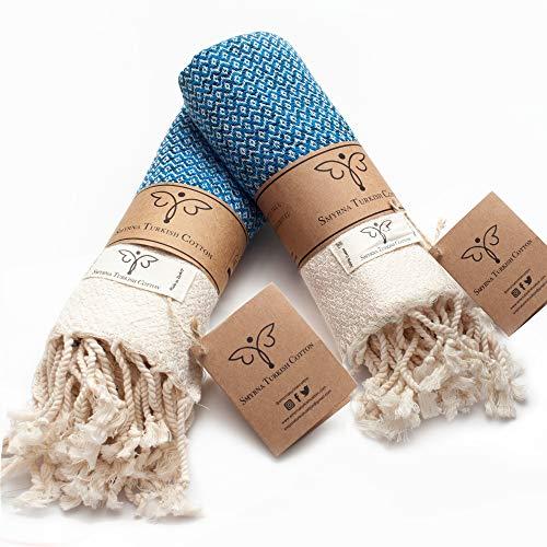 Smyrna Original Turkish Hand Towels Set of 2 | 100% Cotton, 16 x 40 Inches | Decorative Bathroom Peshtemal Towel for Hand, Face, Hair, Gym, Yoga, Tea, Dishcloth, Kitchen and Bath (Blue)