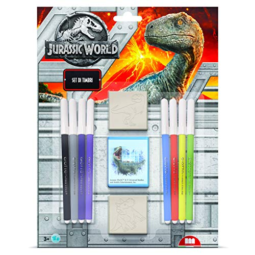 Multiprint Blister 2 Sellos para Niños Jurassic World, 100% Made in Italy, Sellos Personalizados para Niños, en Madera y Caucho Natural, Tinta Lavable no Tóxica, Idea de Regalo, Art.26975