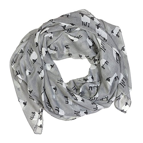 Frcolor Femmes dames moutons impression voile grande taille foulard foulard chaud et doux châle (gris)