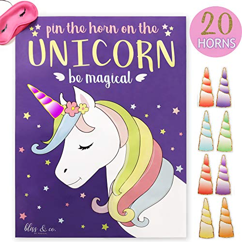 """Pin the Horn on the Unicorn Party Game   Kids, Games, Supplies, Decor, Decorations, Gifts, and Favors for Little Girls Birthday   Large 21"""" x 28"""" Poster   20 Reusable Gold Horns   Pin the Tail on the Unicorn"""